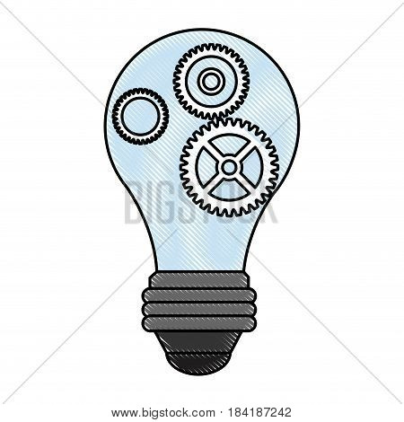 color pencil cartoon light bulb with gears and pinions vector illustration