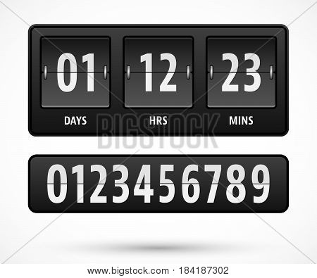 Mechanical countdown timer template with days hours and minutes. Vector illustration.