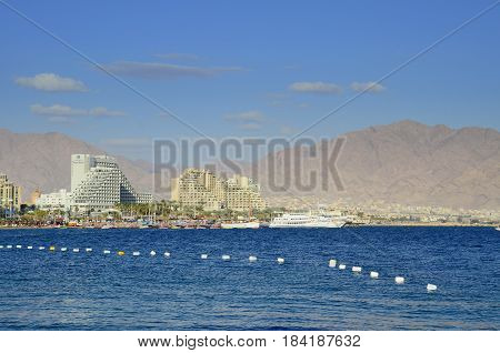EILAT, ISRAEL - MAY 11, 2011: View on the central public beach of Eilat, Israel