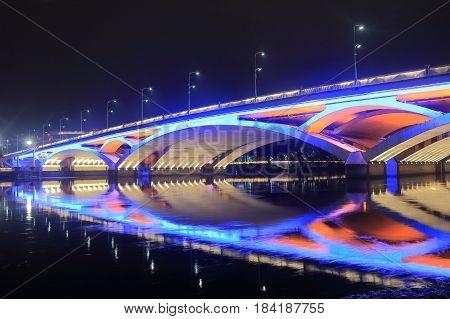 Liberation bridge night cityscape in Guilin China poster