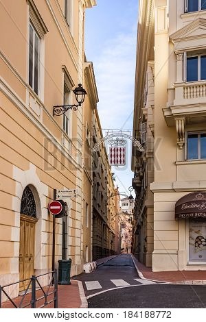 Monaco and Monte Carlo principality - April 29, 2017: Monaco Narrow street