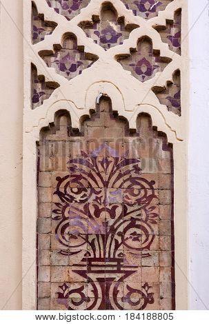 Casablanca architecture, Morocco. Mosque Hassan II decoration