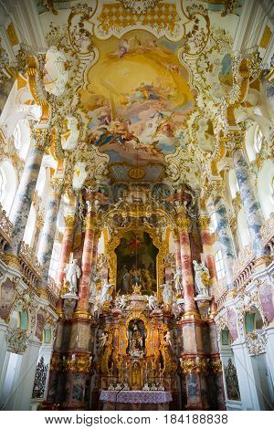 Steingaden, Germany - June 5, 2016: Interior of Pilgrimage Church of Wies. It is an oval rococo church, designed in the late 1740s by Dominikus Zimmermann. Region of Upper Bavaria, Germany.