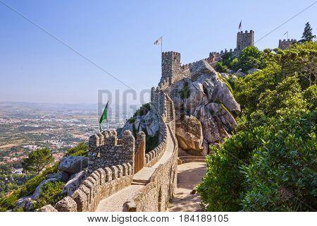 Sintra, Portugal - April 27, 2017: Moors Castle landscape near Sintra