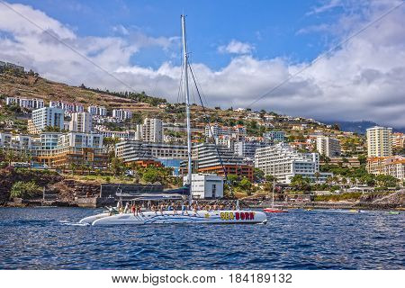 Funchal, Portugal - April 3, 2017: Madeira Yacht near Funchal beach, Portugal.