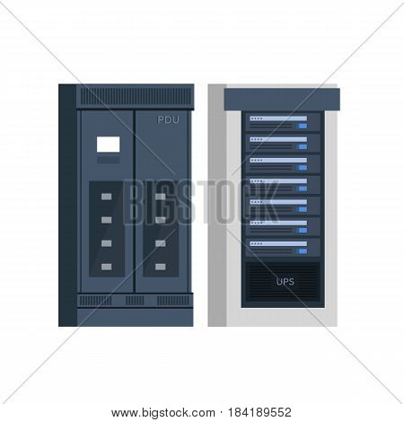 Vector Flat Illustration of a Power Distribution Unit or PDU with a Server Rack