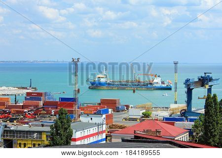 Odessa, Ukraine - April 4, 2017: Container terminal in Quarantine harbor of Odessa sea commercial port, Ukraine.