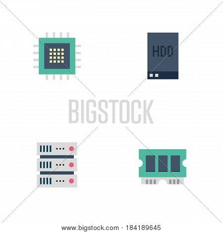 Set of Vector Server Icons: CPU, Memory, Hard Drive. Drawn in Flat Style.