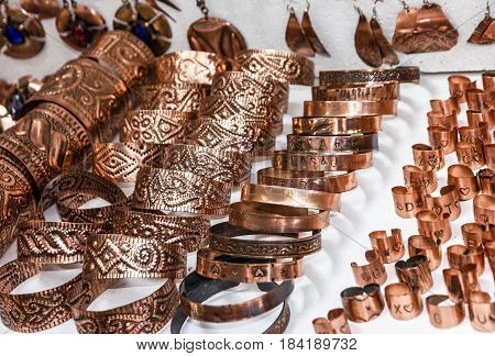 Rings earrings and pendents. Traditional souvenirs in Bosnia and Herzegovina
