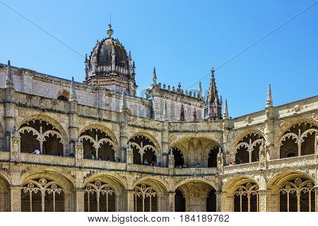 Lisbon, Portugal - April 6, 2017: Monastery of Jeronimos in Lisbon (Mosteiro dos Jeronimos)