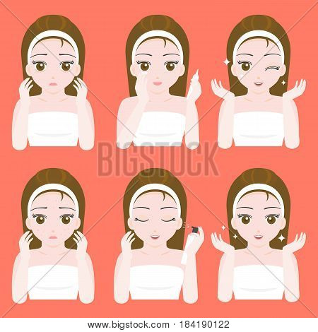 Cute pretty girl apply eye cream and spray skincare on face, flat design vector, before and after instruction for use in dermatology, cosmetic and spa product