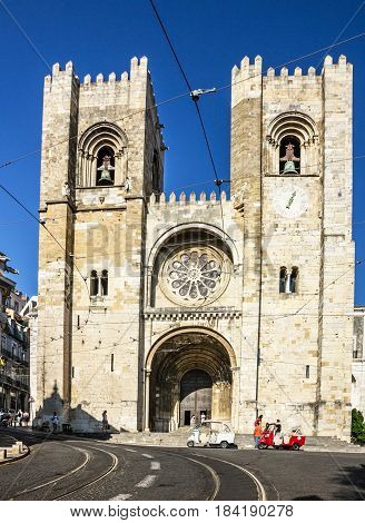 LISBOA PORTUGAL - APRIL 16, 2017: Lisbon Cathedral church Se (Santa Maria Maior de Lisboa), Portugal