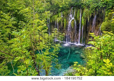 Croatian Waterfall of Plitvice lake, natural landscape
