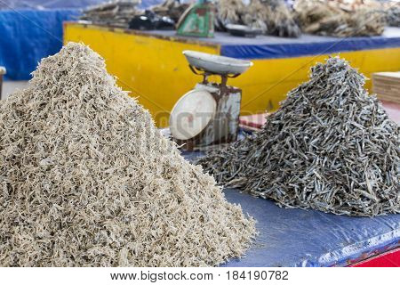 Photo from traditional exotic tribal market pasar in Indonesia on the Kalimantan island Dried fish Indonesia