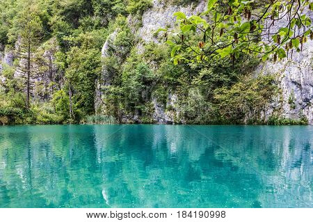 Plitvice lake water, Croatia natural travel background national park