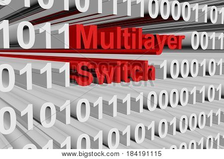 Multilayer switch as a binary code 3D illustration