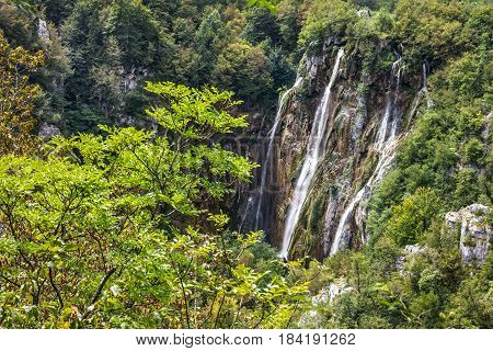 Croatian Waterfall of Plitvice lake natural travel background national park