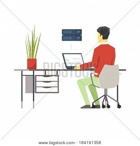 Vector Flat Illustration of a Man at his Workplace Managing Dedicated Server