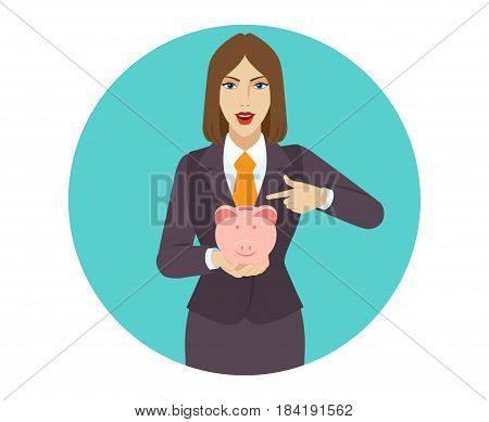 Businesswoman pointing at a piggy bank. Portrait of businesswoman character in a flat style. Vector illustration.