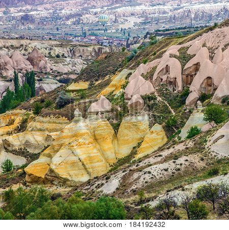 Mountain canyon in Goreme, Cappadocia, Anatolia, Turkey
