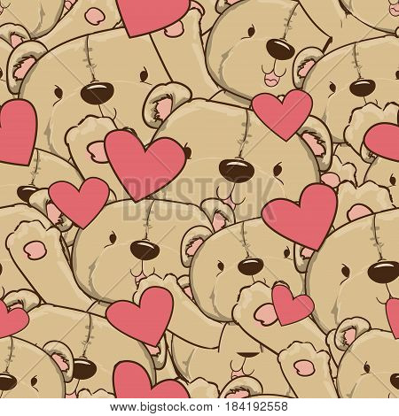 Teddy bear vector seamless background, Vector seamless pattern with hearts, bears.