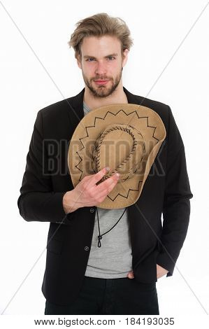 businessman with cowboy hat in suit jacket guy has happy smiling face in jacket isolated on white background