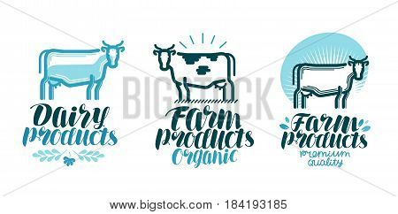 Dairy products, label set. Cow, farm animal, milk, beef icon or logo. Lettering vector illustration isolated on white background