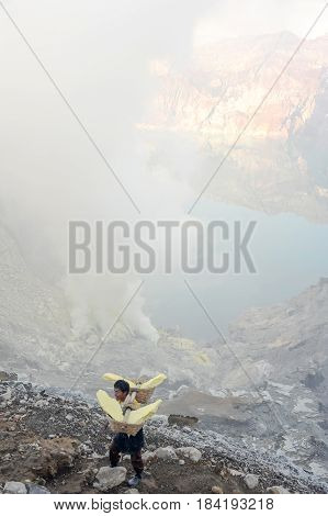 The Ijen Crater On The Island Of Java, Indonesia
