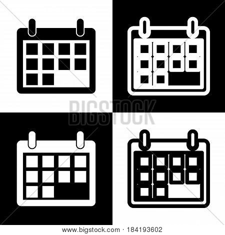 Calendar sign illustration. Vector. Black and white icons and line icon on chess board.