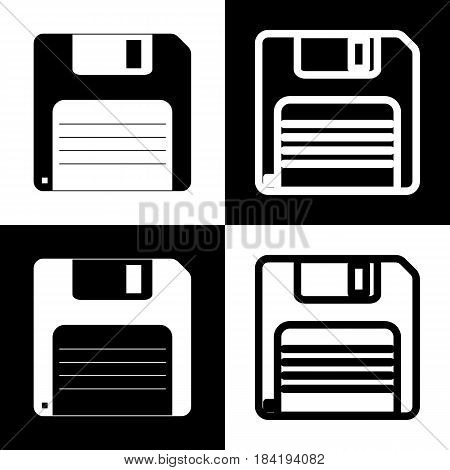 Floppy disk sign. Vector. Black and white icons and line icon on chess board.