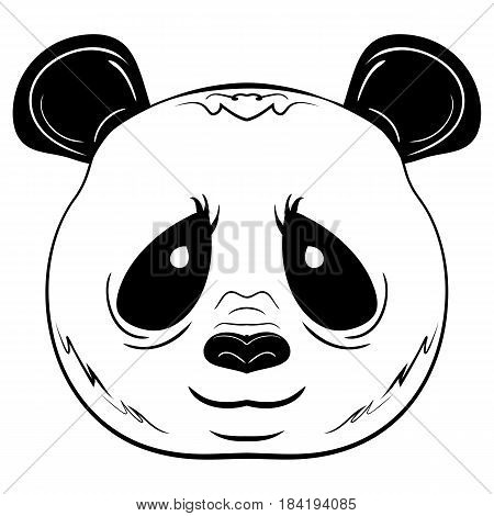 Black and white vector sketch Giant Panda face isolated on white background