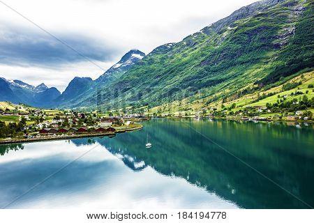 Natural summer landscape, countryside, village Olden, Norway