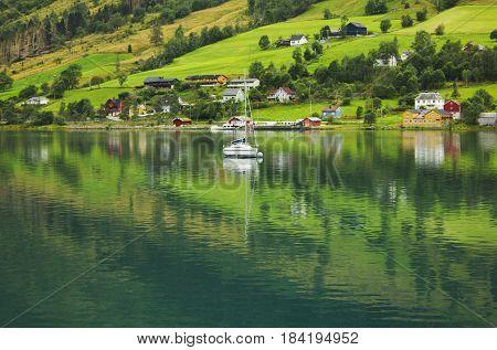 County houses of Norwegian villiage Olden, Norway.