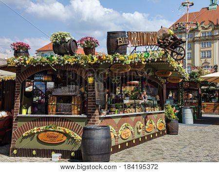 Dresden, Germany - April 4, 2017: Dresden city market beer bar, Germany