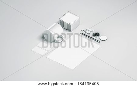 Blank white office stationery set mock up isolated 3d rendering. Empty corporate branding identity mockups presentation. Clear space work supplies template for logo design isometric view elements.