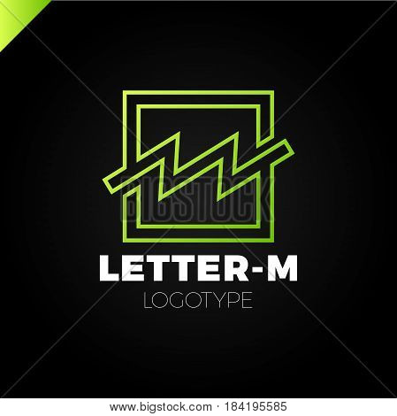Bank Or Finance Organization Letter M Or W Logo Template. Marketing Rate Simple Square Logotype