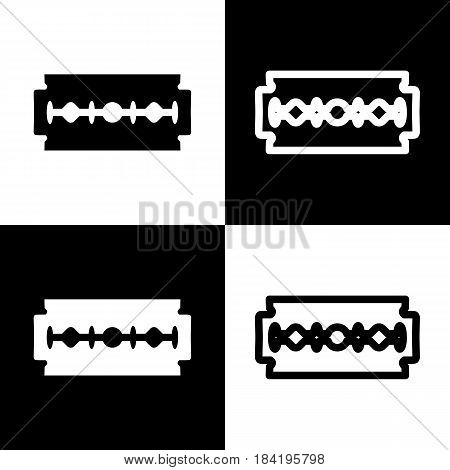 Razor blade sign. Vector. Black and white icons and line icon on chess board.