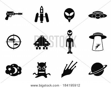 isolated alien and ufo icons set from white background