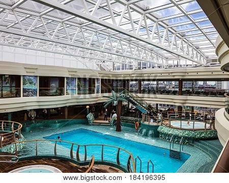 Cruise liner Splendida - May 1, 2017: Swimming pool on cruise liner Splendida