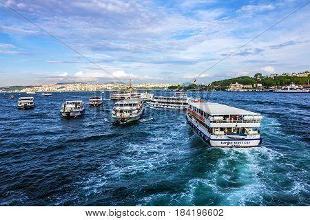 Istanbul, Turkey - April 6, 2017: Cutters in Bosporus, Istanbul, Turkey