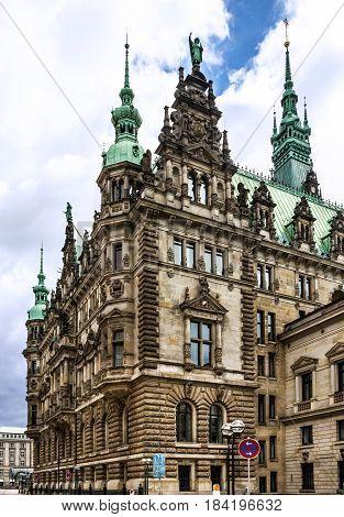 Hamburg town hall building architecture (Rathous), Germany