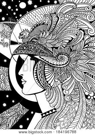 graph coloring doodling Pallas Athena illustration girl