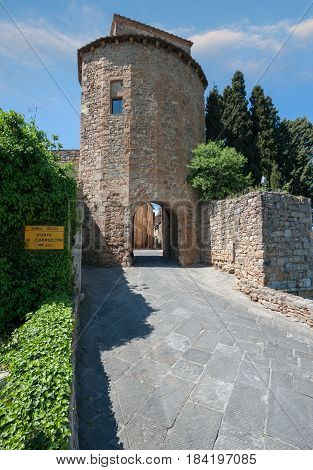 The entry door of the village of San Quirico d'Orcia in the province of Siena TuscanyItaly