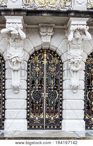 Old door trellised pig-iron Linderhof Palace, Germany, Bavaria
