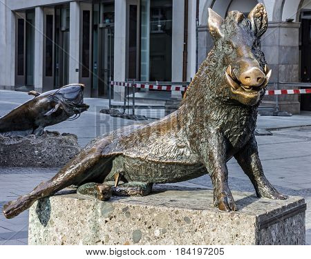 Munich, Germany - April 3, 2017: Bavarian Boar sculpture near nature museum of Minich