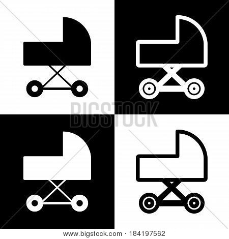Pram sign illustration. Vector. Black and white icons and line icon on chess board.