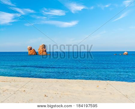 Sea Stacks in Cea beach in Sardinia