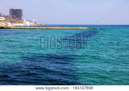 Sea side of Odessa, Ukraine, seascape berth
