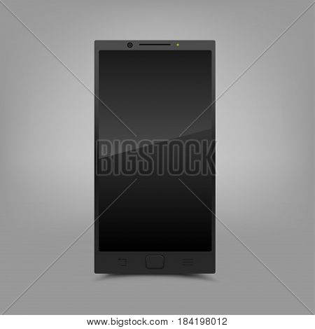 Black modern smartphone with shadow on gray background. Smart technology communication mobile phone. Screen off