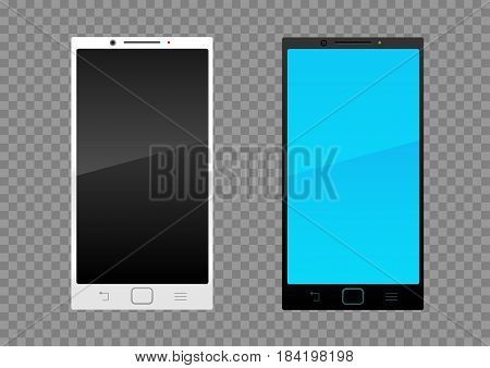 Black and white modern smartphone on transparent background. Smart technology communication mobile phone. Screen on off